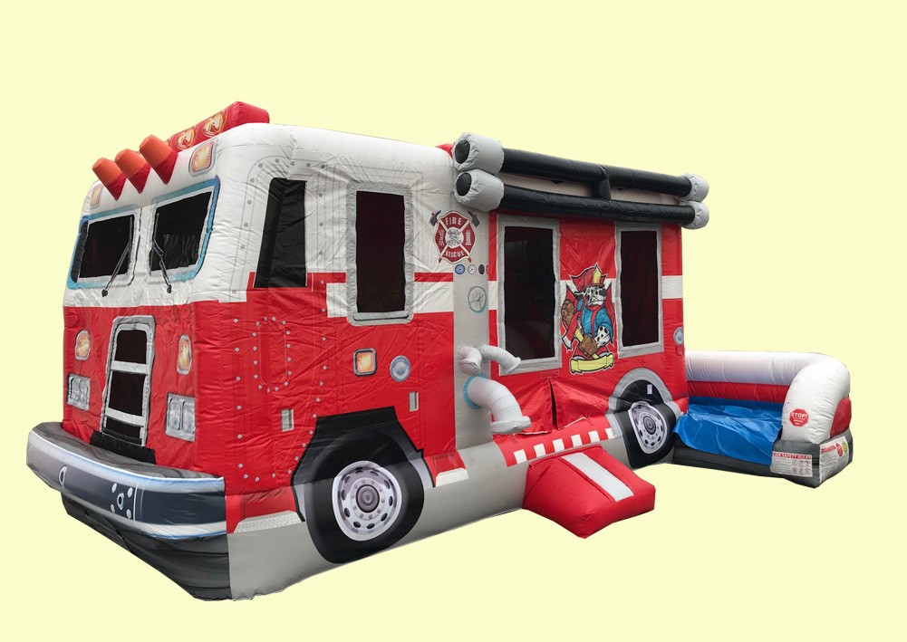 Fire Truck Bouncer - Commercial Inflatable Bounce House