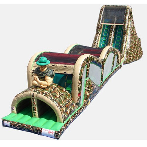 Camo Theme Extreme Rush Obstacle Course with 19' Slide - Commercial Obstacle Course