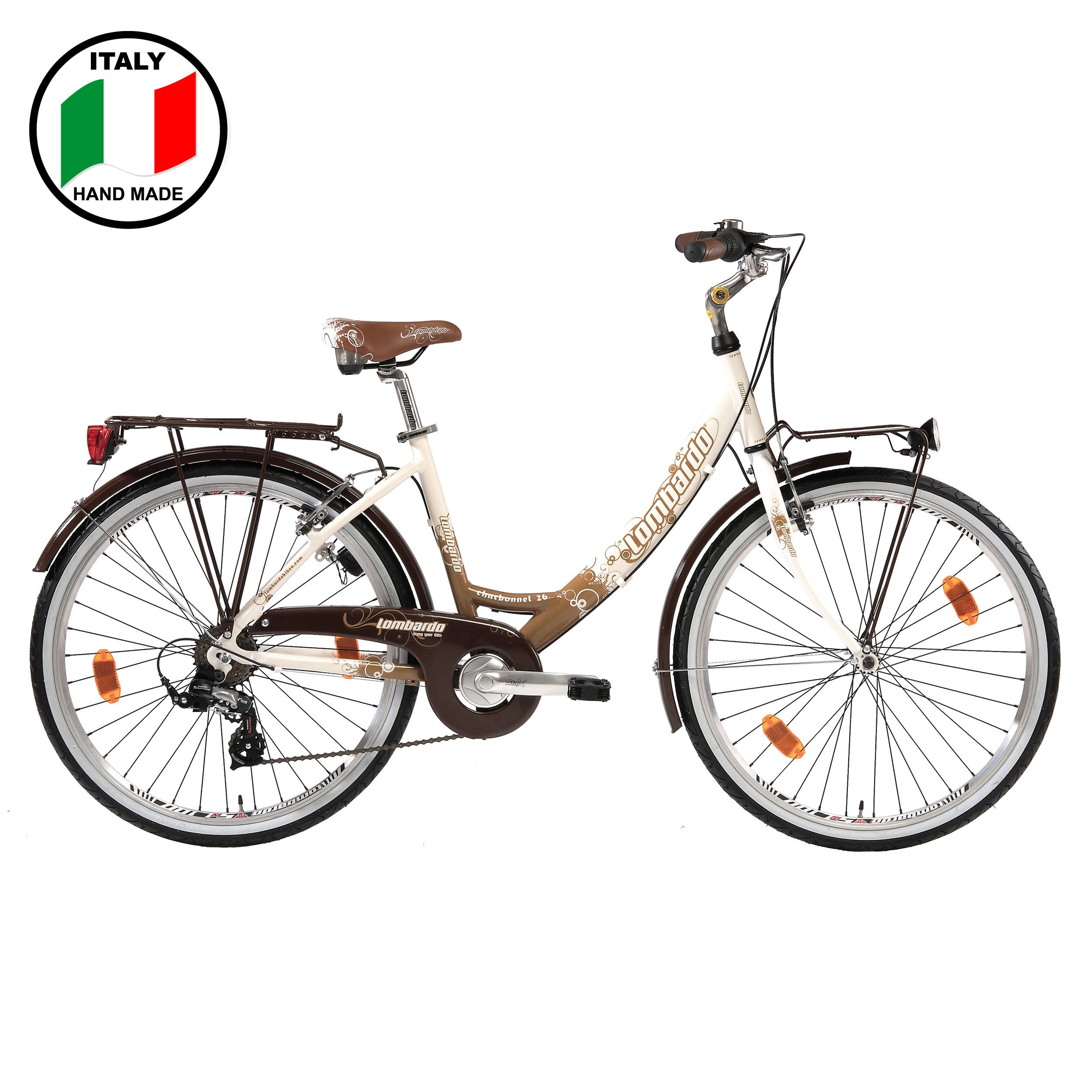 Lombardo Charbonnel Alloy 26 inch Bike-Brown and White