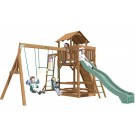 Playtime Charlotte Swing Set With 10 Ft Green Wave Slide