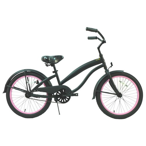 Girls 20 Inch Extended Frame Beach Cruiser Black and Pink