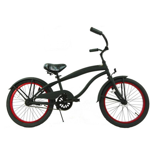 Boys 20 Inch Extended Frame Beach Cruiser Black and Red