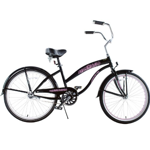 Black with Pink Wheels Ladies Beach Cruiser