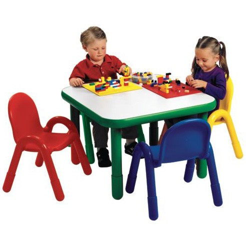 Angeles Baseline Preschool Square Table And 4 Chair Set Multiple