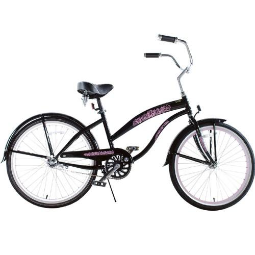 Black with Pink Wheels Ladies Beach Cruiser