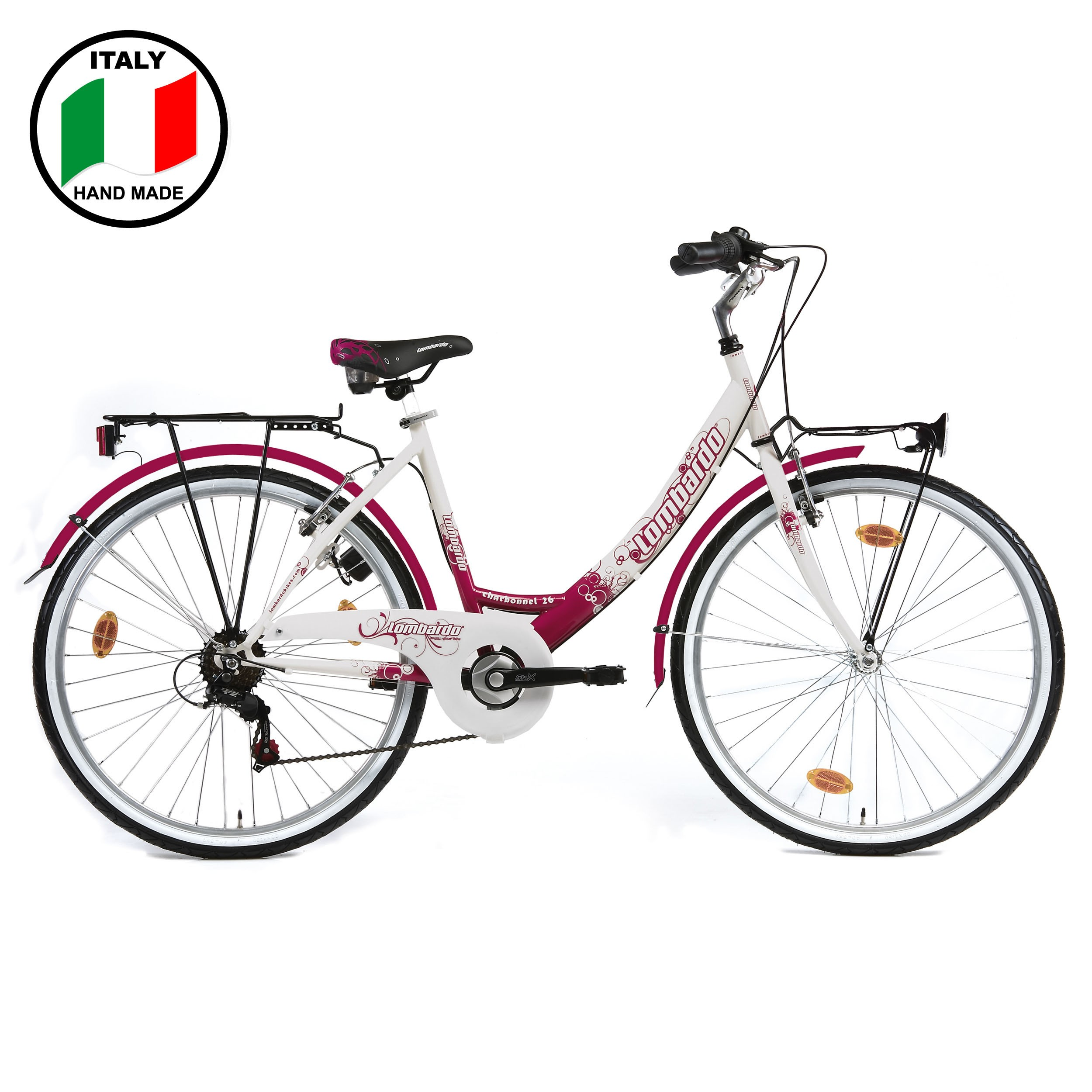 Lombardo Charbonnel 26 inch Bike- Fuchsia and White