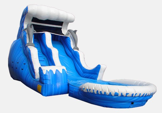 18' Double Drop with Pool - Commercial Inflatable Waterslide