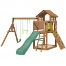 Playtime Eagle Point Swing Set With 10 Ft Green Wave Slide