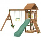 Playtime Riviera Swing Set With 8 Ft Green Wave Slide