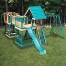 Congo Monkey Play Set Package #5 Green and Cedar - shown with optional wood roof. Tarp roof is standard.